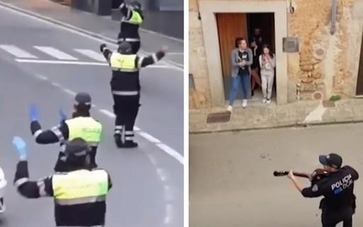 Coronavírus: policiais cantam e dançam para entreter população