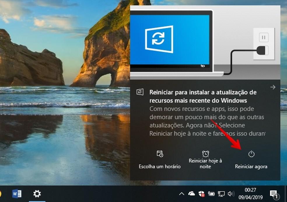 Instalando o Windows 10 Maio 2019 Update — Foto: Reprodução/Helito Beggiora