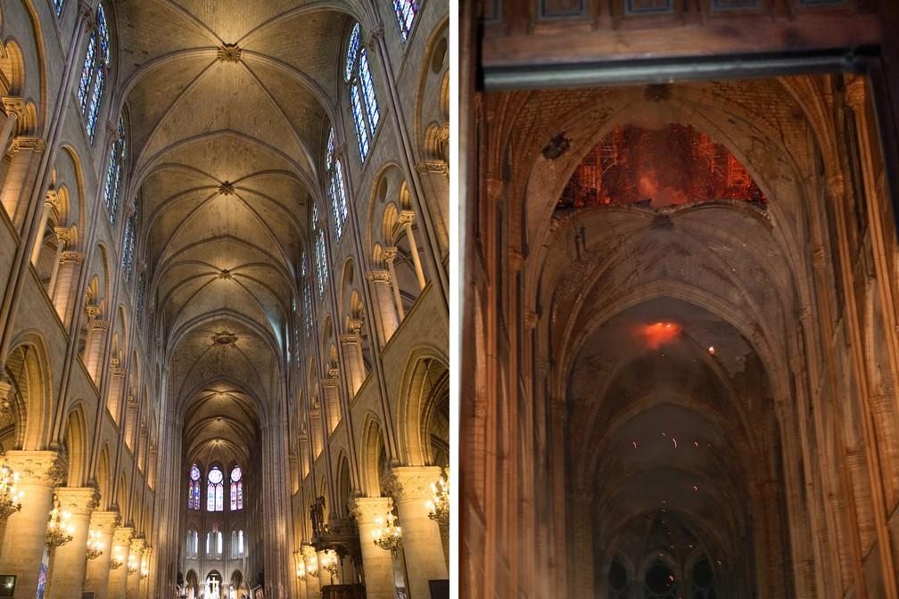 Combinação de fotos mostra o teto da catedral Notre-Dame antes, em foto de arquivo de 2012, e depois do incêndio em Paris — Foto: Charles Platiau/Reuters/Arquivo; Philippe Wojazer/Reuters/Pool