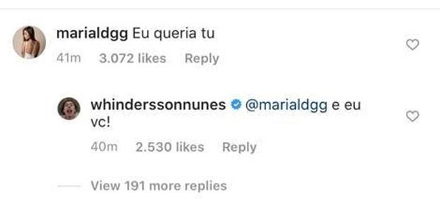 Comentário de Whindersson Nunes (Foto: Reprodução/Instagram)