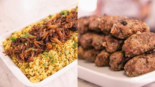 Receitas árabes de mjadra e kafta