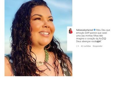 Fabiana Karla disse: 'Parece que casei uma das minhas filhas' Reprodução