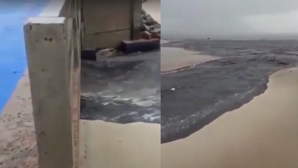 Esgoto sem tratamento é despejado na Baía de São Marcos — Foto: Reprodução/São Luís