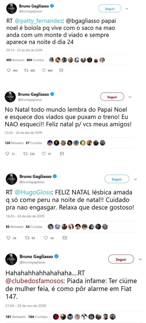 Publicações de Bruno Gagliasso feitas em 2009 (Foto: Reprodução/Twitter)
