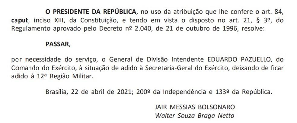 Publicação no 'Diário Oficial' sobre a condução de Eduardo Pazuello para a Secretaria-Geral do Exército — Foto: Reprodução