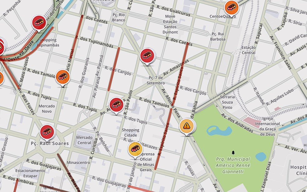 Aplicativo Waze mostra mapa da velocidade do trânsito de Belo Horizonte (Foto: Reprodução/Waze)