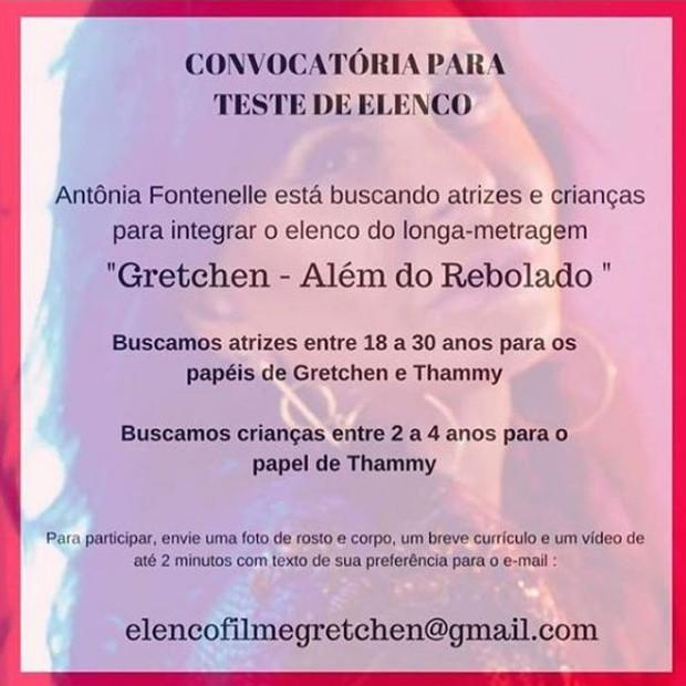 Anúncio de teste de elenco para o filme de Gretchen (Foto: Reprodução/Instagram)