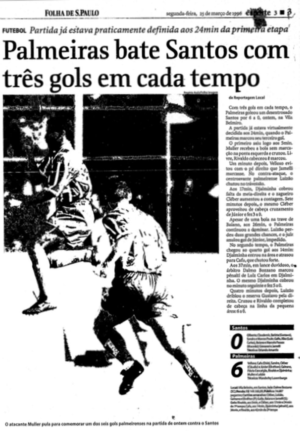 """Palmeiras venceu com três gols em cada tempo, como destacou a """"Folha de S.Paulo"""" (Foto: Reprodução)"""