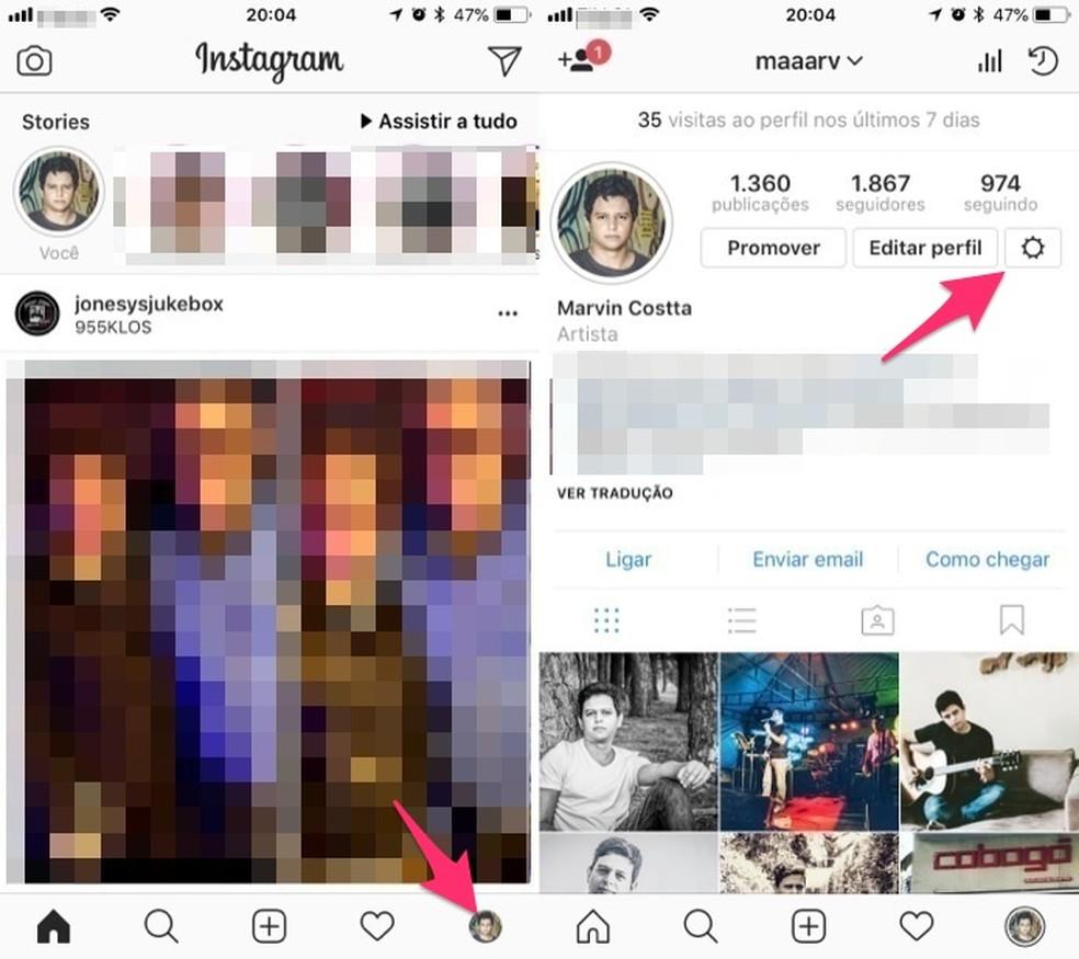 Acesse as configurações de uma conta do Instagram pelo iPhone (Foto: Reprodução/Marvin Costa)