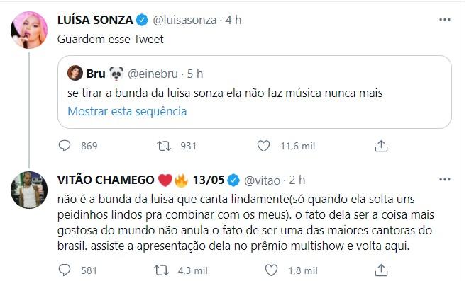 Vitão defende Luisa Sonza (Foto: Reprodução/Twitter)