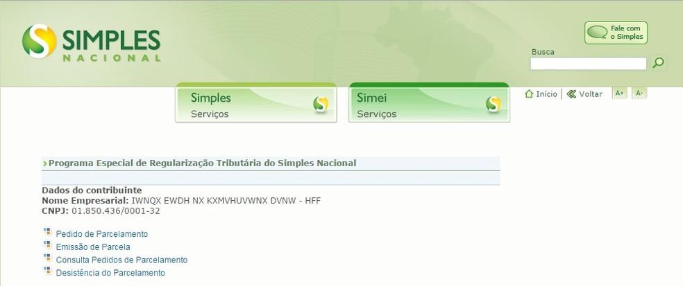 Tela de pedido de adesão ao Refis das PMEs no portal do Simples Nacional (Foto: Divulgação/Receita Federal)