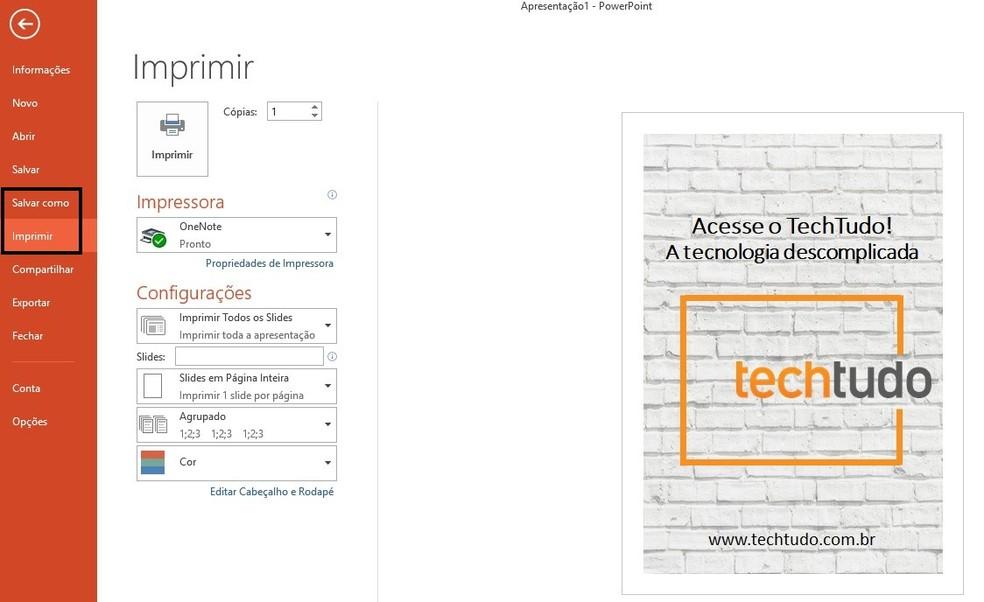 Banner criado no PowerPoint pode ser salvo no computador ou enviado direto para impressão — Foto: Reprodução/Rodrigo Fernandes
