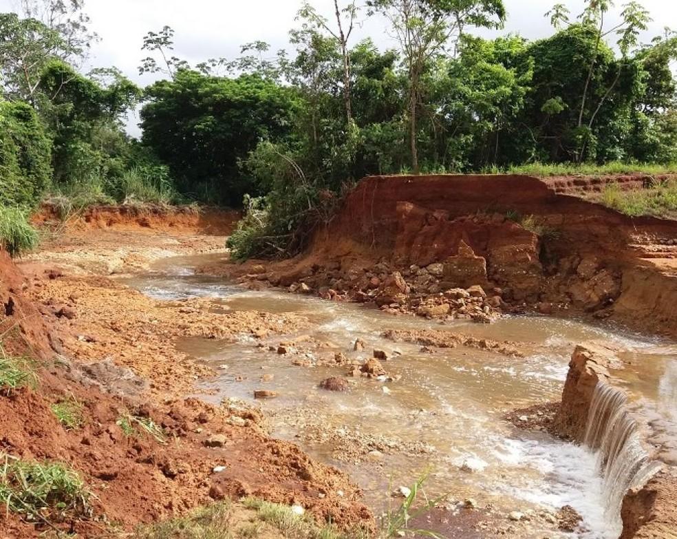 Chuvas causaram estragos no município  (Foto: Prefeitura de Mirassol d'Oeste/Divulgação)