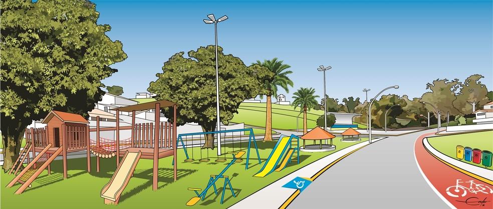 Praça da Mina em Varginha (MG) ganharia um parque infantil com uma ciclovia. (Foto: Ender de Oliveira)
