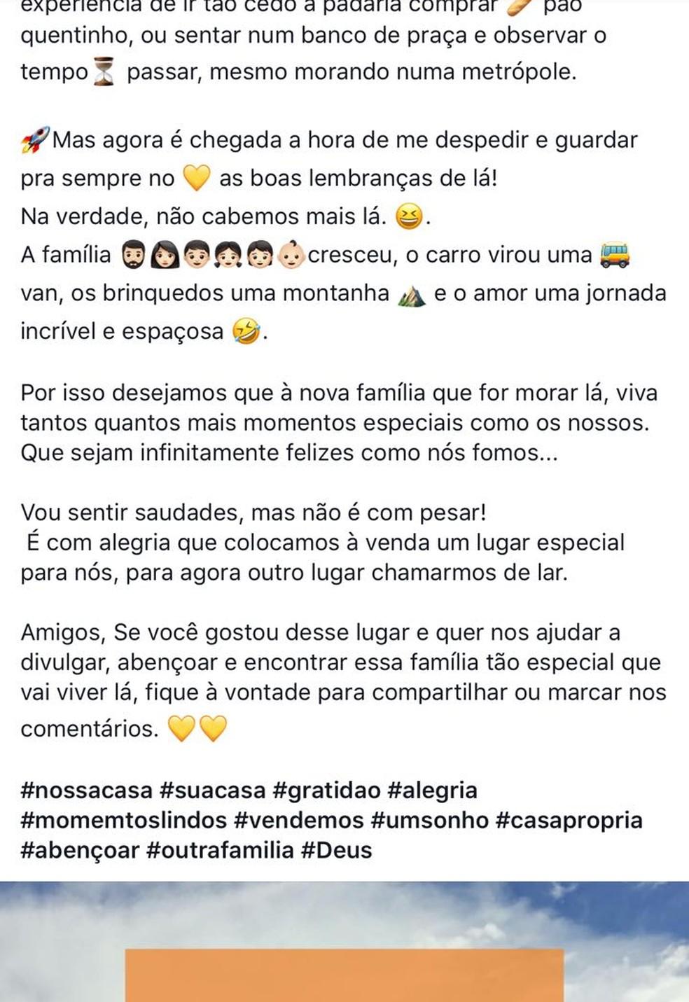 Anúncio da venda foi compartilhado nas redes sociais em MS (Foto: Reprodução/Facebook)
