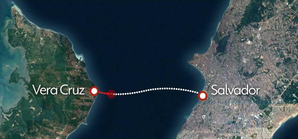 Vera Cruz e Salvador são cidades separadas pela Baía de Todos-os-Santos (Foto: Reprodução / TV Bahia)
