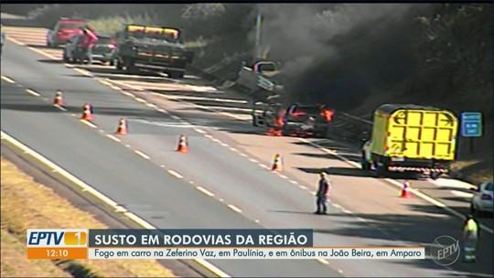 Após pane elétrica, veículo pega fogo na Rodovia Zeferino Vaz, em Paulínia