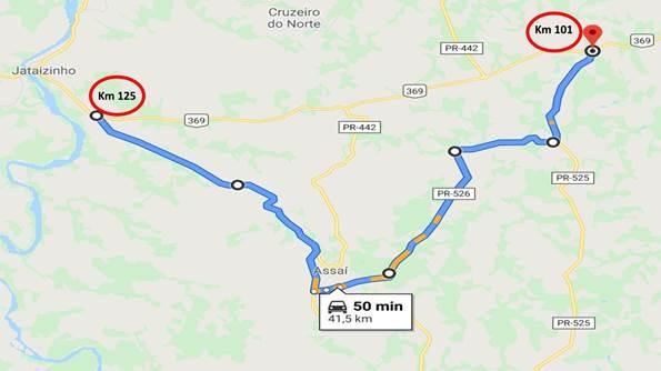 Trecho de cinco quilômetros da BR-369, no norte do Paraná, será interditado para detonação de rochas