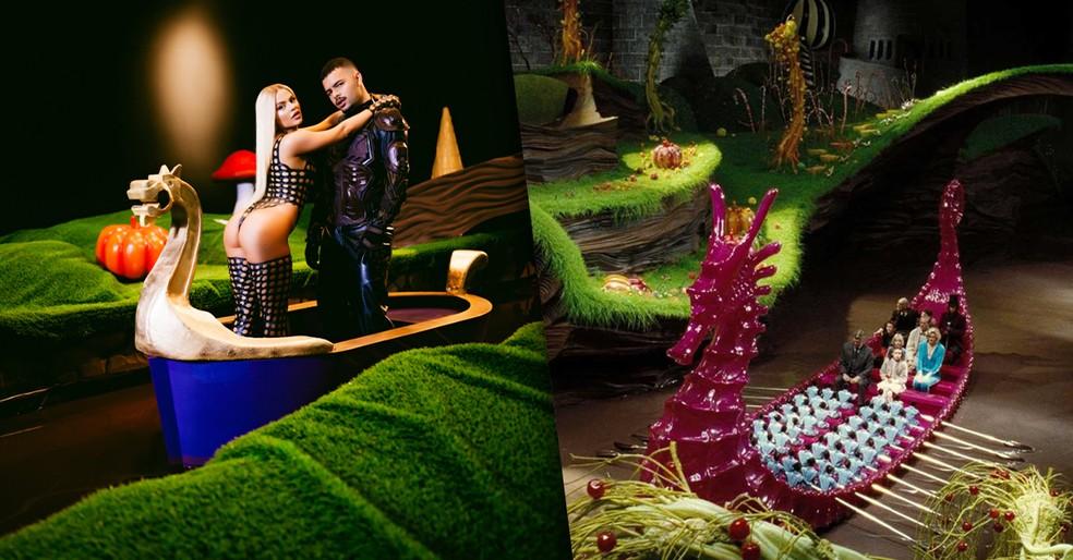 Luísa Sonza e Pedro Sampaio em clipe 'Atenção' inspirado no filme 'A Fantástica Fábrica de Chocolate' — Foto: Foto: Rodolfo Magalhães / Warner Bros