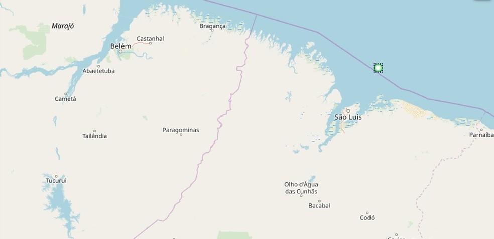Ponto em verde aponta o local onde o navio está encalhado — Foto: Reprodução/MarineTraffic