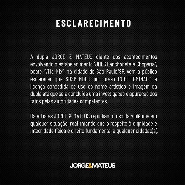 Comunicado de Jorge & Mateus (Foto: Reprodução/Instagram)