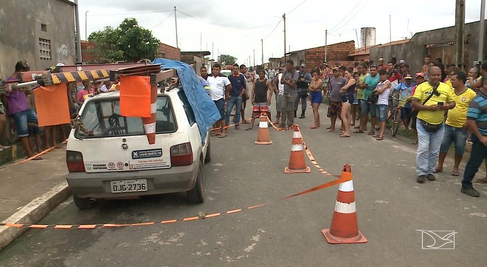 Prestadores de serviços da Cemar foram executados no Sítio Natureza, em Paço do Lumiar — Foto: Reprodução/TV Mirante