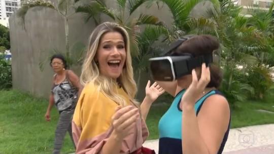 Ingrid Guimarães 'testa' brinquedo virtual nas ruas