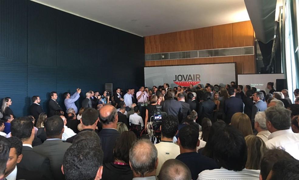 Ato de lançamento da candidatura de Jovair Arantes no Salão Nobre da Câmara dos Deputados (Foto: Tainá Sigmaringa/G1)