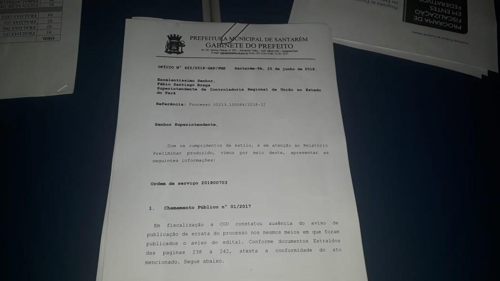 Ofício da prefeitura que, segundo o IPG, responde aos questionamentos da CGU  — Foto: Geovane Brito/G1