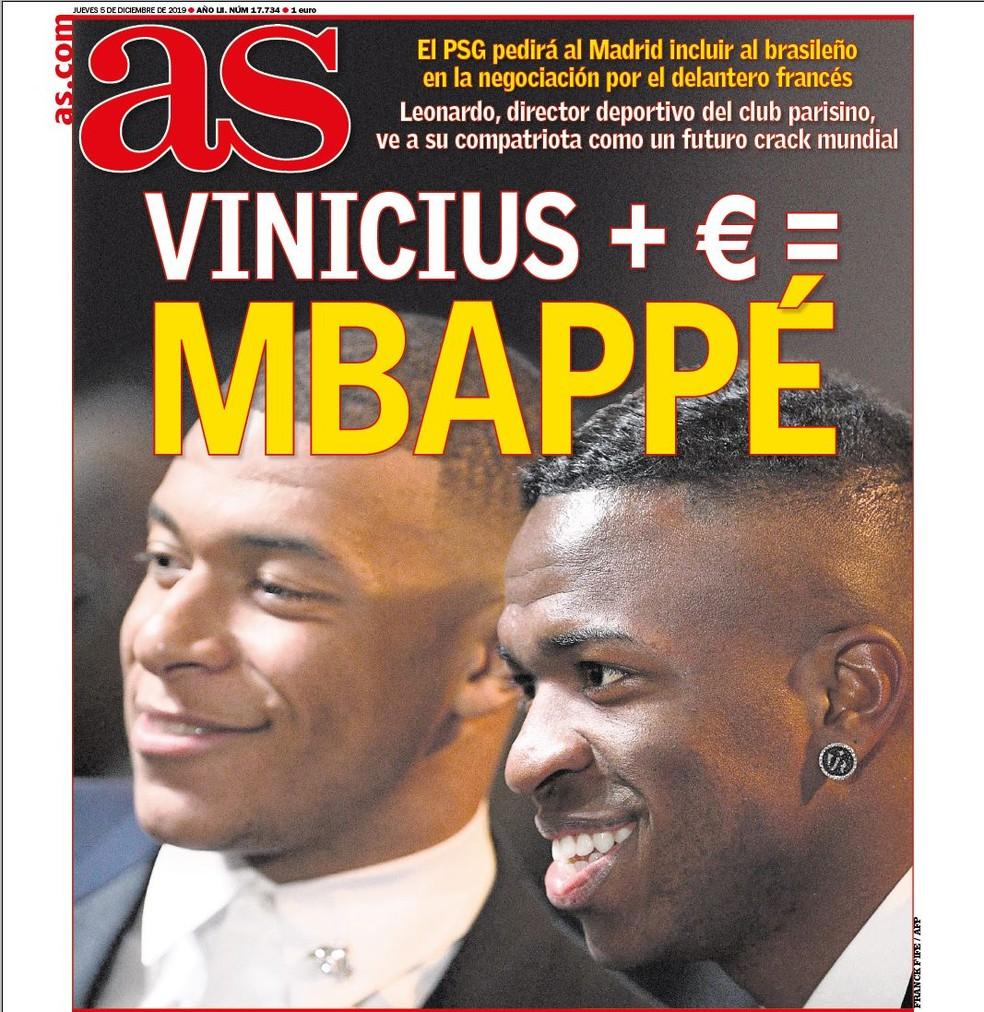 """Jornal """"As"""" publica que Real Madrid cederia Vinicius Junior ao PSG para ter Mbappé — Foto: Reprodução/As"""