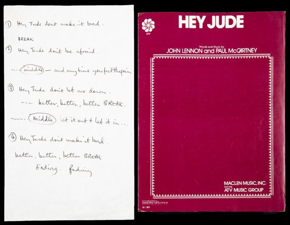 manuscrito do clássico dos Beatles 'Hey Jude' foi arrematado por US$ 910 mil. — Foto: Reprodução / www.juliensauctions.com