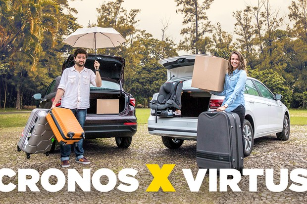 Duelo de espaços: Volkswagen Virtus c Fiat Cronos (Foto: Autoesporte)
