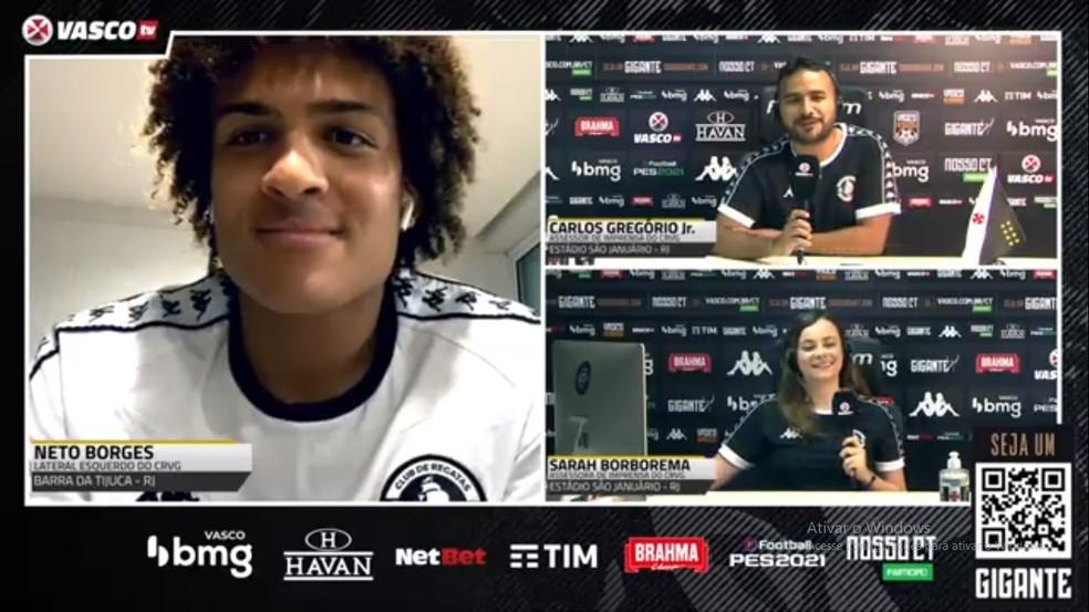 Neto Borges participou de coletiva virtual via Vasco TV — Foto: Reprodução