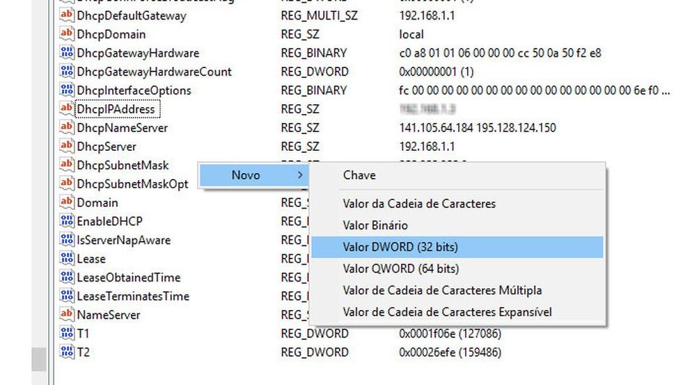Crie dois valores DWORD (32 bits) — Foto: Reprodução/Tais Carvalho