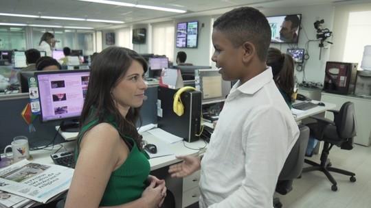 Jessica Senra mostra os bastidores da TV Bahia a estudante que sonha em ser jornalista