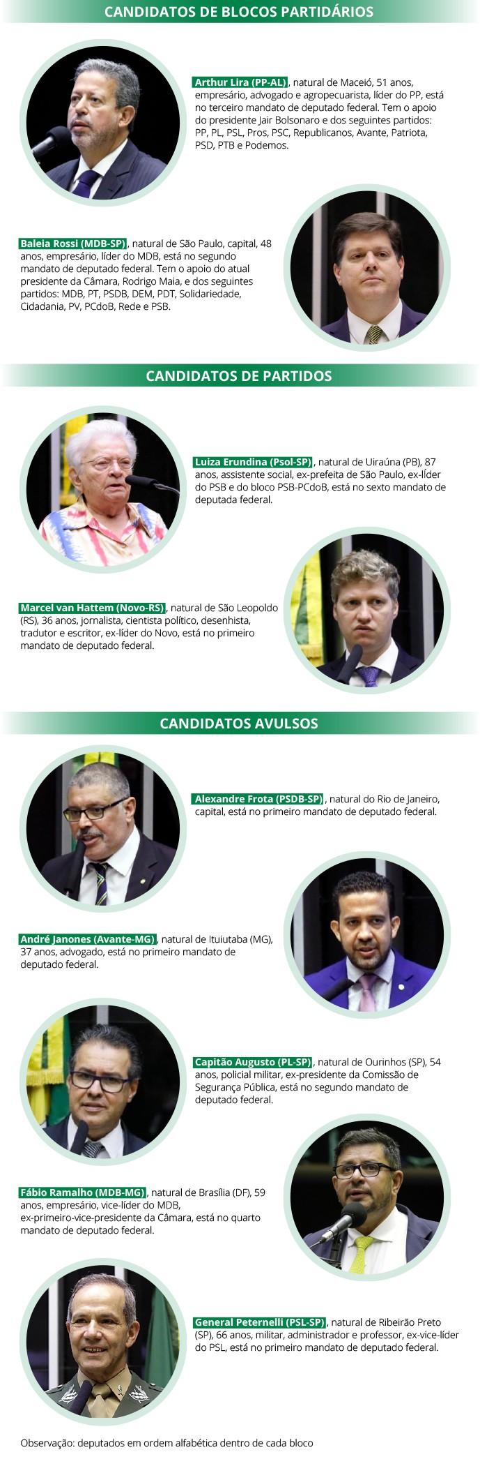 candidatos-camara-presidente (Foto: Reprodução/Câmara dos Deputados)