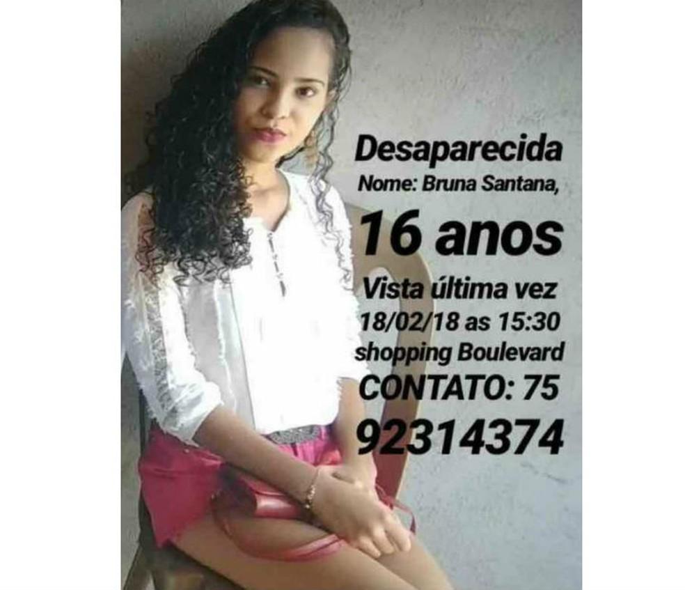Estudante de 16 anos desaparece após marcar encontro com adolescente em shopping na BA (Foto: Divulgação)