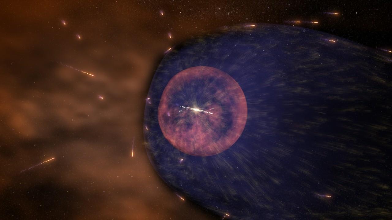 A heliosfera protege o Sistema Solar dos raios cósmicos provenientes de outras regiões do espaço (Foto: NASA's Goddard Space Flight Center/Conceptual Image Lab)