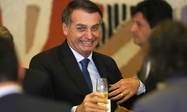 Bolsonaro na recepção ao presidente argentino Mauricio Macri