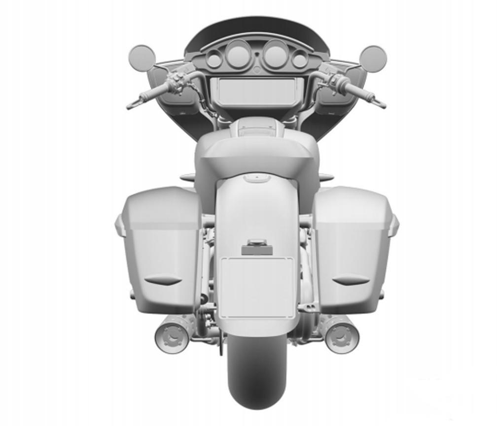Versão top de linha da futura moto BMW terá central multimídia 'gigante' — Foto: Inpi