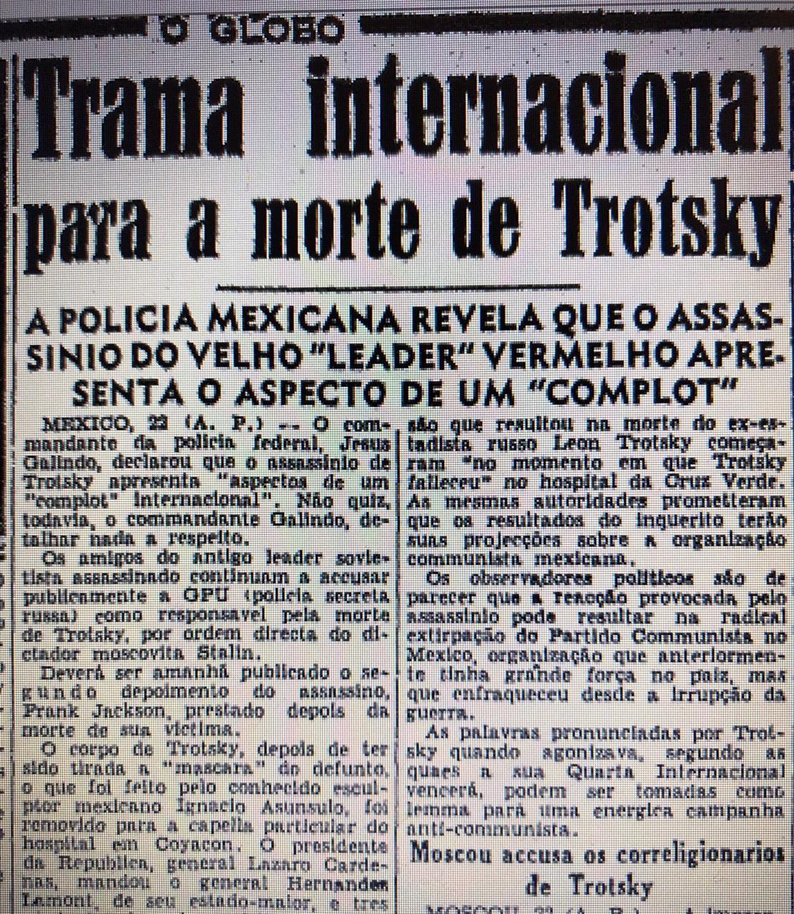 Trecho de notícia sobre a morte de Trotsky no GLOBO de 22 de agosto de 1940