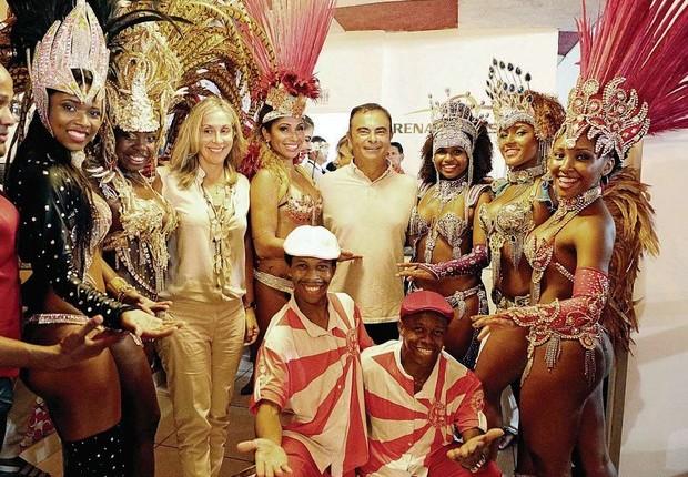 Carlos Ghosn na escola de samba Acadêmicos do Salgueiro, patrocinada pela Nissan (Foto: Divulgação)