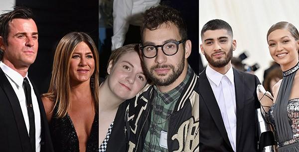 Jennifer Aniston e Justin Theroux, Lena Dunham e Jack Antonoff, Zayn Malik e Gigi Hadid (Foto: Getty Images)