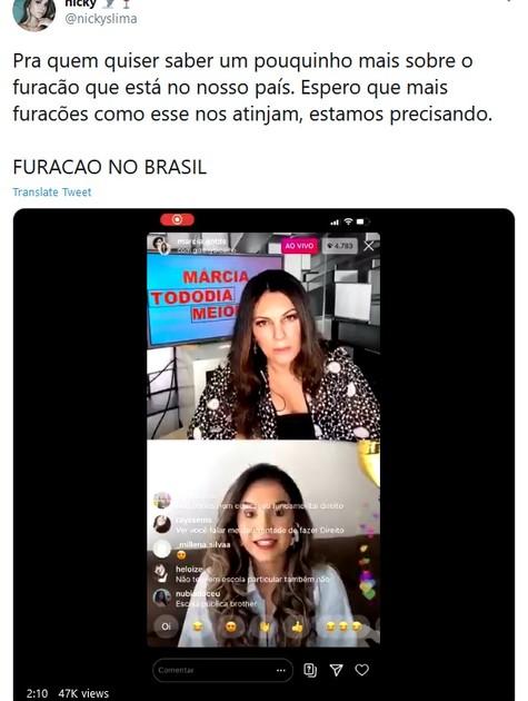 Fã de Gizelly faz postagem usando a hashtag 'Furacão no Brasil' (Foto: Reprodução Twitter)