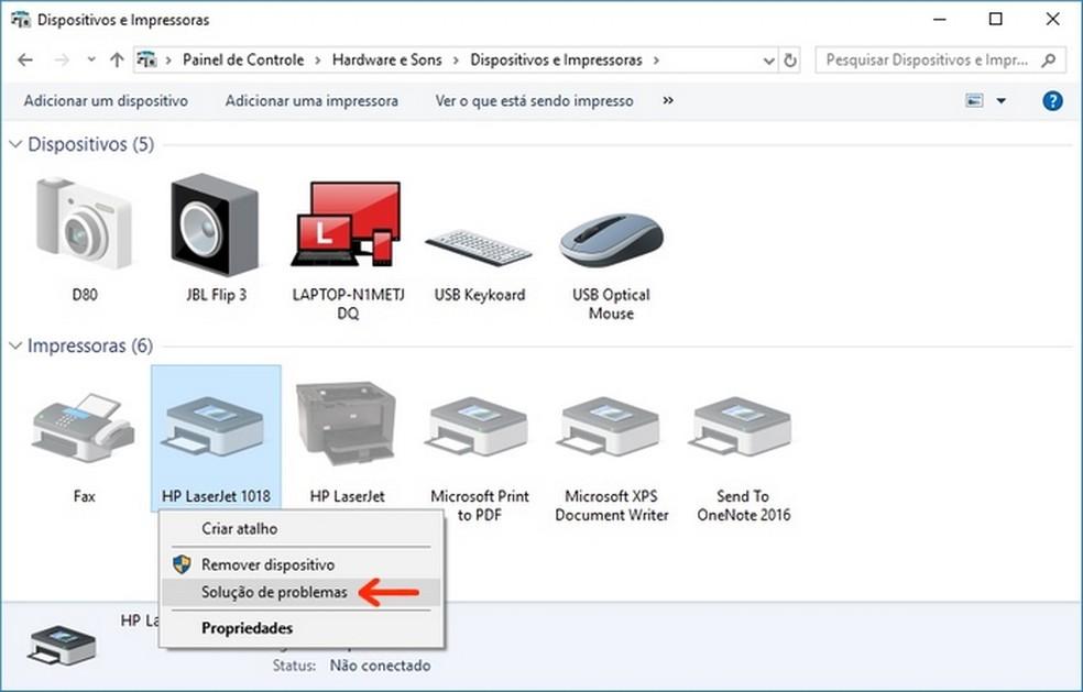 Abertura da solução de problemas para a impressora no Painel de Controle do Windows (Foto: Reprodução/Raquel Freire)