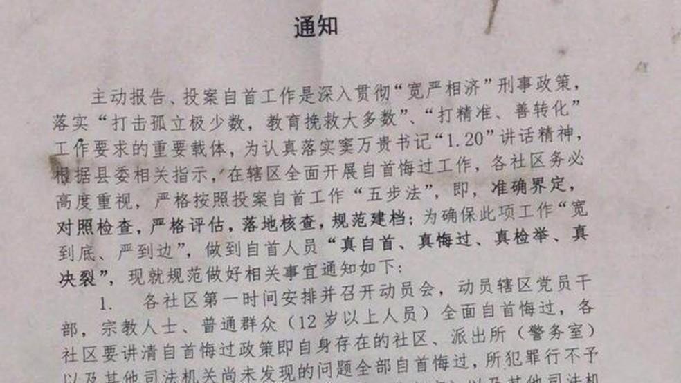 Parte de um documento enviado por Merdan Ghappar pedindo às crianças que 'se arrependam e se rendam' — Foto: BBC