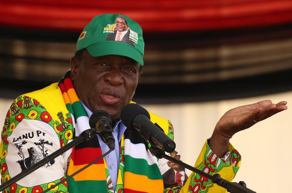 Emmerson Mnangagwa, presidente do Zimbábue, durante evento em Mutare  (Foto: Philimon Bulawayo/Reuters)