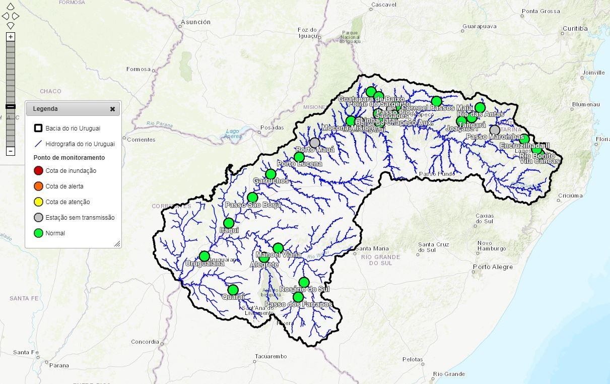 Sistema de monitoramento controla nível do Rio Uruguai e permite antecipar enchentes