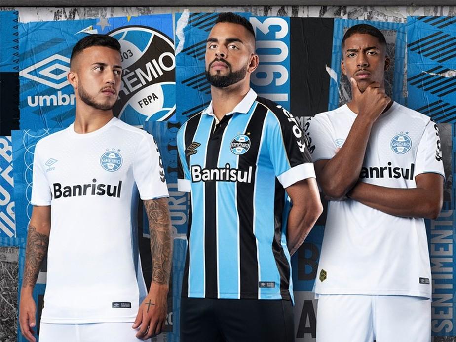 83ffb56e7 ... Grêmio lança uniformes para 2019 com novidade na camisa branca; veja  fotos