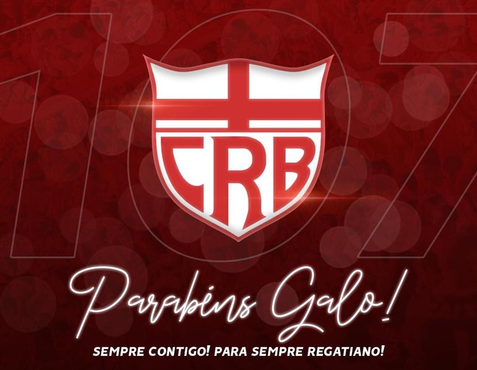 CRB comemora nesta sexta-feira 107 anos de fundação — Foto: Reprodução CRBoficial